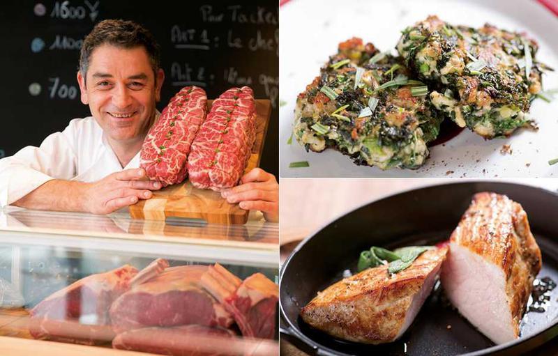 世界一の精肉店のお肉を堪能!■左:ニューヨークタイムズで「世界一の精肉店」と評されたユーゴ・デノワイエ氏。今回はオープンのため東京に来日。■右上:1Fのイートインスペースで食べられる、ハーブと仔牛のひき肉を混ぜ合わせた南仏の郷土料理。■右下:2Fのダイニングでは本格的なお料理が食べられます。こちらは仔牛をシンプルに焼き上げたもの。