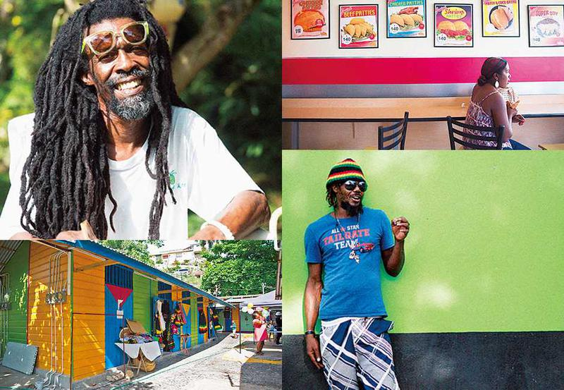 左上:見事なドレッドヘアが象徴的なジャマイカオヤジさん。左下:色とりどりのペイントが目立った美しい街並み。■右上:ローカルレストランでは昼間から地元っ子たちがおしゃべりに興じていました。 右下:カメラを向けるとおどける人が多いのも国民性?そんななか撮れたクールな一枚。