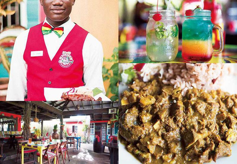 """■左上:肉を使った料理が中心です。■左下:外気が入る気持ちいいレストランでリラックスしながらワイワイガヤガヤ。カラフルな店内もキュート。■右上:ラムを使ったカクテル。左はモヒートで右のカクテルは""""ボブ・マーレー""""!■右下:ジャマイカのスパイスを使ったラムのカレー。とろとろに煮込んでありました。小豆が入った伝統的なライスとともに。"""