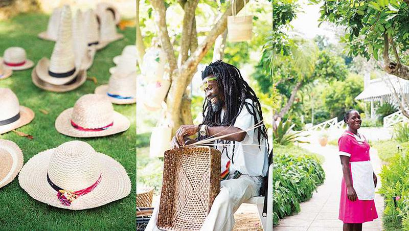 ■左/中央:バナナの葉を使った伝統的な編み物を披露してくれたジャマイカオヤジさん。■右:ピンクやブルーといった鮮やかなカラーの制服は褐色の肌に映えてスタイリッシュ。デザインは昔ながらでとても素敵。