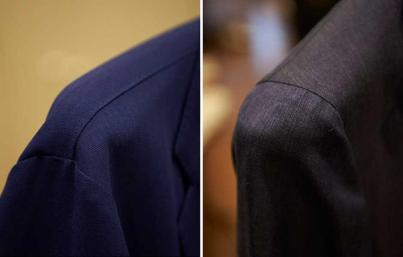 右はハンガーが大きすぎて袖まで入っています。左は逆に小さすぎて、肩先が落ちてしまっています。これって濡れたスーツを乾かすときだけでなく、クロゼットにしまっておくときもスーツが型くずれする原因となりますのでご注意ください。