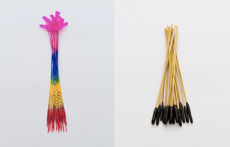 """左●「長手牡丹」。東日本で一般的なタイプ。和紙の""""こより""""の先に黒色火薬が包まれている。右●「スボ手牡丹」。関西で一般的なタイプ。藁の先端に黒色火薬の練ったものを付着させている。"""
