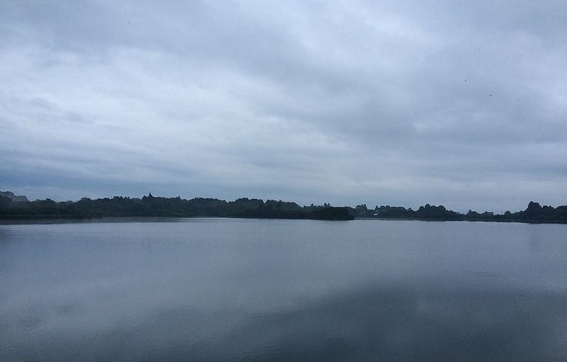 雨に煙る精進湖。霧と雲が余計なものをすべて覆い隠すので、こんなに幻想的なのです。
