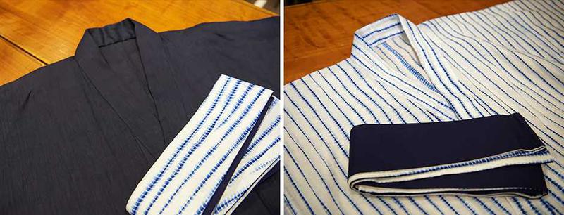 左●紺無地の浴衣はシボの浮いた「近江ちぢみ」。汗ばむ夏の素肌に張り付かず快適な浴衣の代表素材です。帯は「竜巻しぼり」と呼ばれる角帯。このコントラストある合わせ方が、粋な浴衣コーデの基本だそう。浴衣4万5000円、帯1万6000円/ともにユナイテッドアローズ(ユナイテッドアローズ 原宿本店 メンズ館)右●「竜巻しぼり」の浴衣には、先程の同柄帯をリバーシブルにして。角帯は大抵リバーシブルなので、こういう使い方もできるのです。浴衣4万7000円、角帯1万6000円/ともにユナイテッドアローズ(ユナイテッドアローズ 原宿本店 メンズ館)