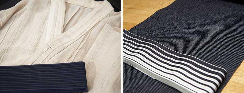左●「折襞(おりひだ)」と呼ばれる特殊な織生地は麻とキュプラの混紡素材ということで、ゆったりサラリなタッチが気持ちいい肌触り。茄子紺の帯はシルク100%の博多織です。浴衣5万3000円(お仕立代込)、帯3万9000円/西村道轍ともにY. & SONS 右●手しぼ加工の近江ちぢみは、コットンにレーヨンを混紡したもの。ゴワ付かず、仕立て上がりからさらりとした落ち感を楽しめます。縞のピッチがグラデーションとなる間道柄の帯も伝統的な柄使いです。浴衣3万9000円(お仕立代込)、帯3万9000円/西村道轍ともにY.& SONS