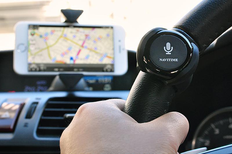 スマートフォン用ホルダーとカーナビタイム用ナビリモコンを装着