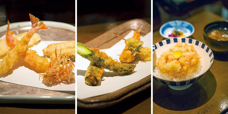 天丼、アスパラ、銀杏、絹さや、まき海老、墨イカ、メゴチ