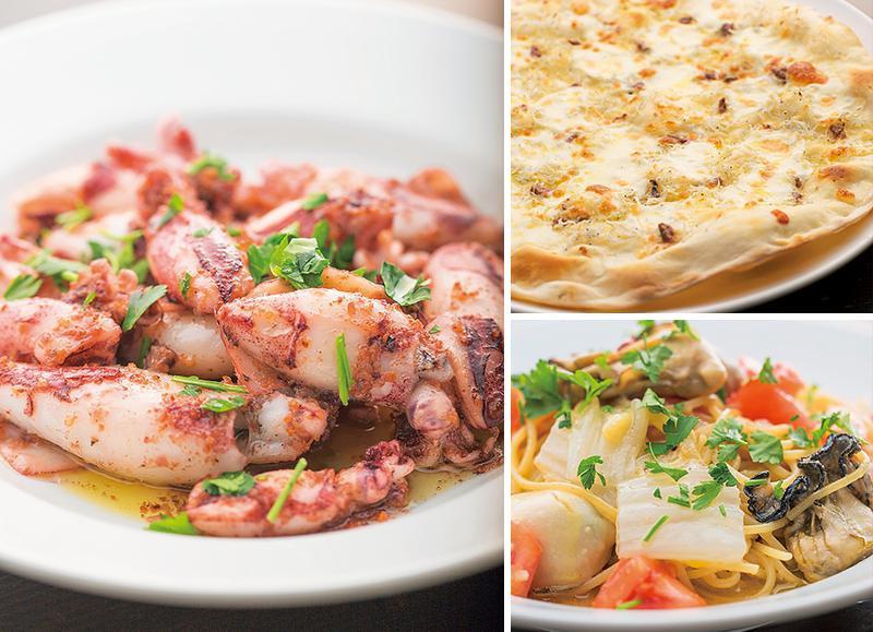メトイカのガーリックソテー、しらすとアンチョビのピザ、牡蠣と白菜、トマトのスパゲティ