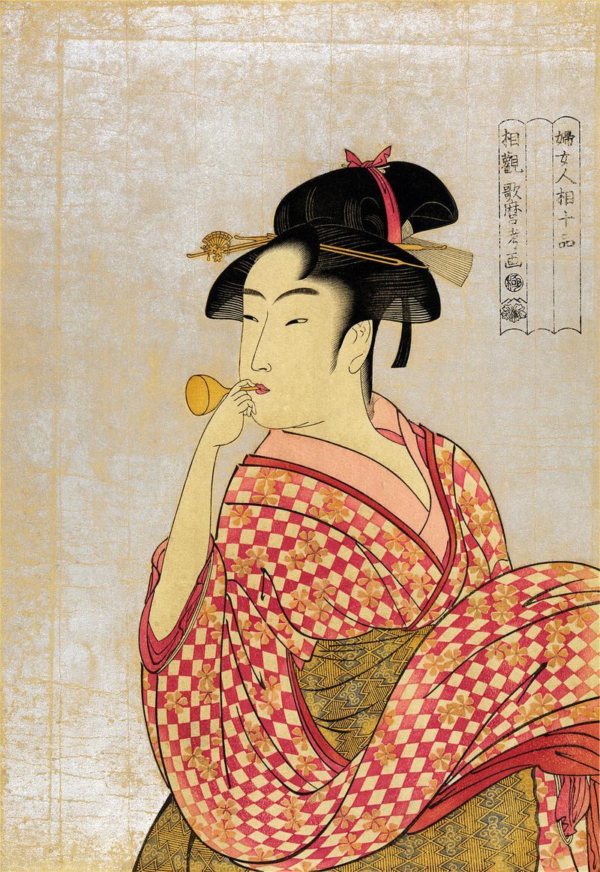 喜多川歌麿作「ビードロを吹く娘」。瓜実顔の美人