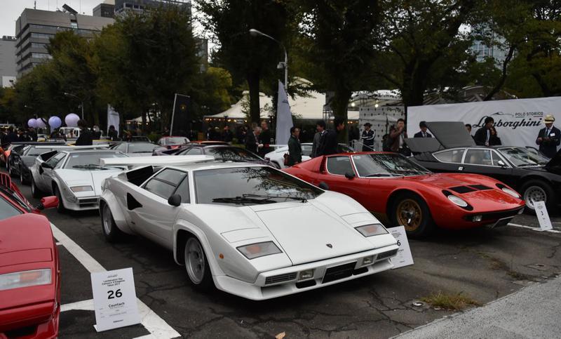 コンクールデレガンスの会場に集結したランボルギーの名車たち