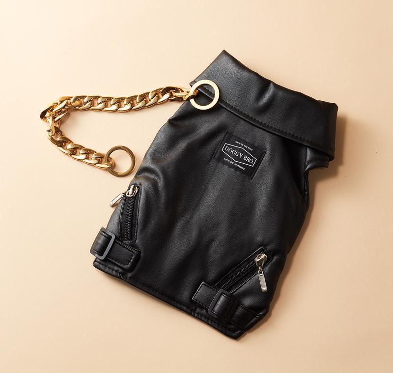 DOGGY BRO ライダースジャケット6500円、ゴールドチョークチェーン(L、LX)3500 円(共に税別)