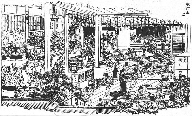 江戸時代の和歌山の名称を紹介した「紀伊國名所図会」には、当時の総本家駿河屋のお菓子作りの様子が描かれています。