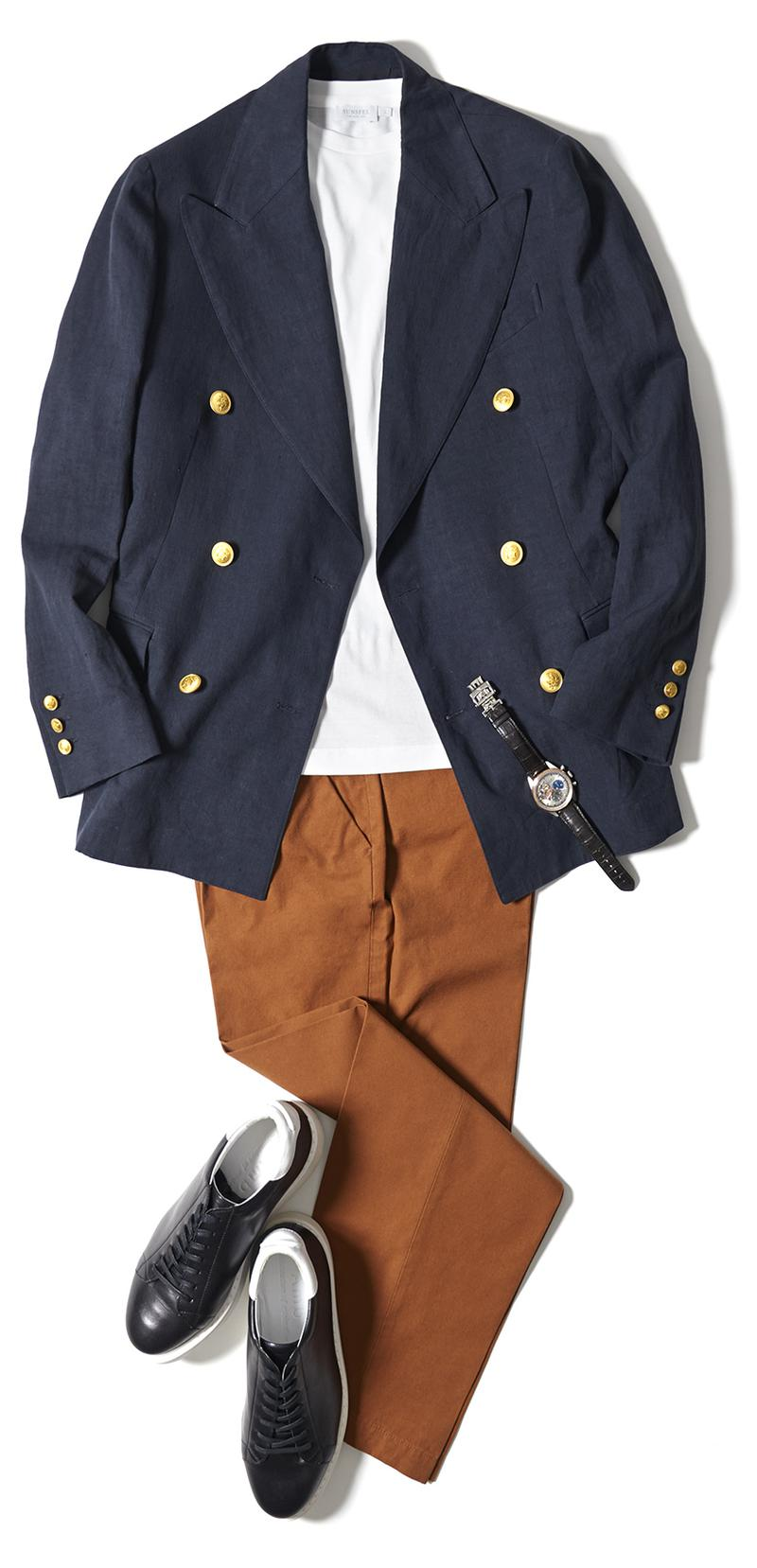 Tシャツ1万1000円/サンスペル、ジャケット15万5000円/マディソンブルー(マディソンブルー)、パンツ3万円/セラードア(グジ東京店)、時計121万円/ゼニス(ゼニス)、靴2万4000円/エーエムビー(ハイブリッジ インターナショナル)