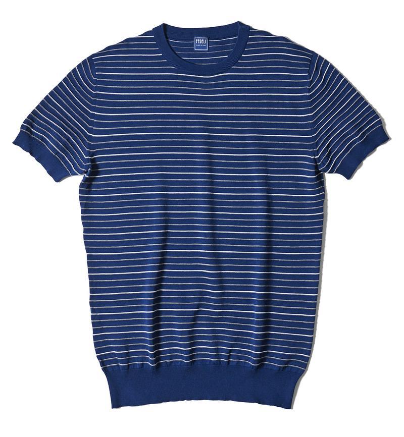 ネイビーブルーボーダーニットTシャツ4万9000円/フェデッリ(トレメッツォ)