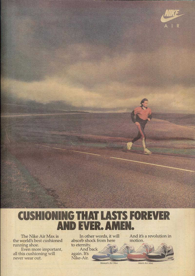 衝撃吸収性の寿命が従来のランニングシューズと比較して大幅に向上したことを強調したエア マックス1の広告。