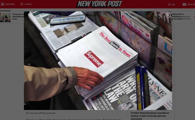8月13日発行のアメリカの日刊紙「ニューヨーク・ポスト」では、表紙と裏表紙に「シュプリーム」の広告が掲載され、たちまち売り切れ店が続出。こちらも瞬時にSNSで拡散されバズを生んだ。「ニューヨーク・ポスト」公式サイトから。
