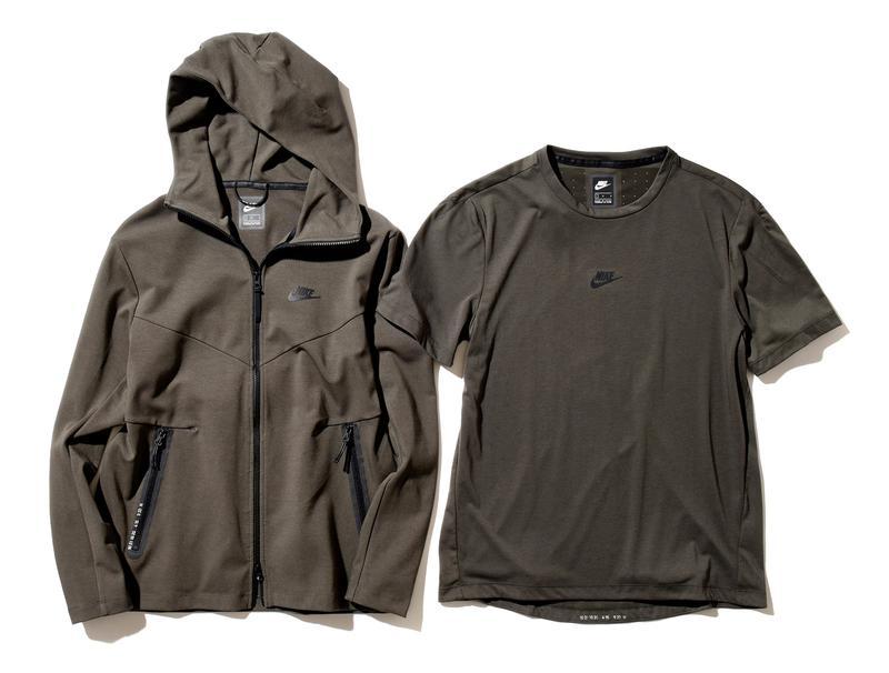 (左より)パーカ1万3000円、Tシャツ6500円/ともにナイキ スポーツウェア(ナイキ カスタマーサービス)
