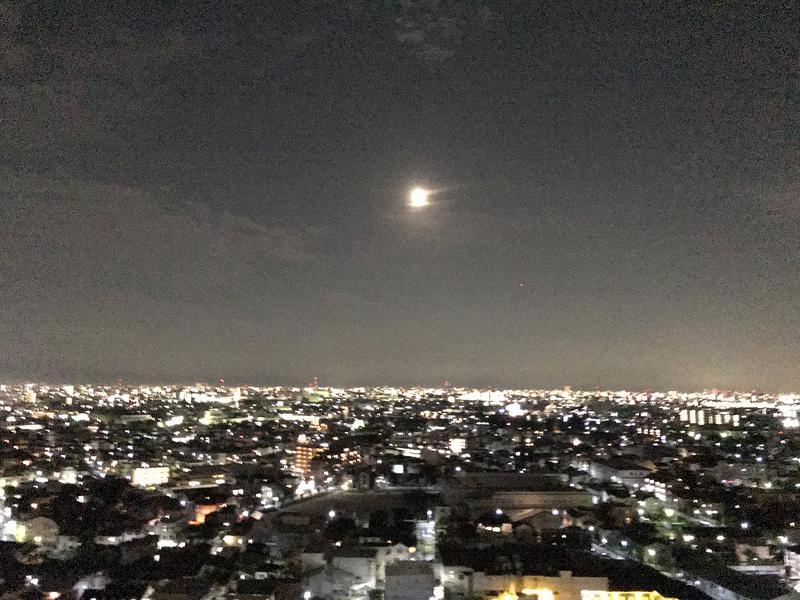 iPhone7で撮った月。肉眼では綺麗だった月も、写真になるとそのディテールはほとんど伝わりません。