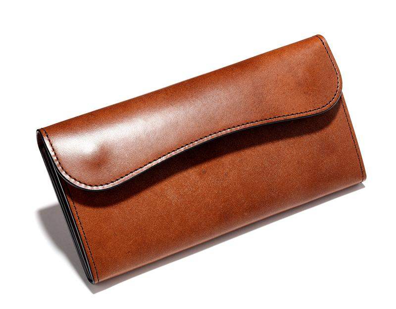 ブラウンフルグレインブライドルレザーロングウォレット7万5000円/ワイルドスワンズ(ケイズファクトリー)